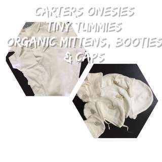 CARTERS onesies & TINY TUMMIES booties, mittens & caps