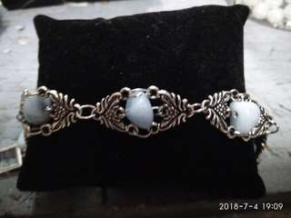 Stainless steel crafted bracelet with angelite stone
