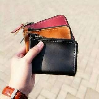 Mini Pouch Leather Wallet Zipper Handmade