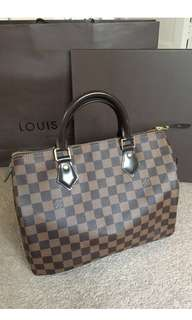 Authentic LV Speedy 30 Damier Ebene