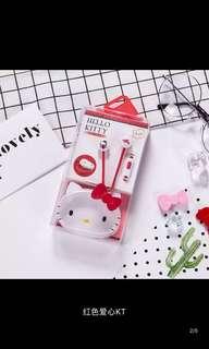 🚚 韓版kitty 入耳式耳機&收納盒
