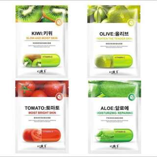 🥝🍅BN INSTOCK Assorted Fruits Vitamins Face Masks @ $0.80/pc