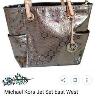 💯Original Michael kors mk jet set east west mirror silver tote bag