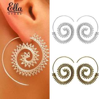 Round spiral exaggerated whirpool gear hook drop earings