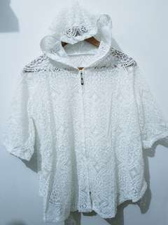 Lace Hoodie white