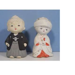 Vintage Japanese ceramic dols wedding couple circa 1960s retired collectable