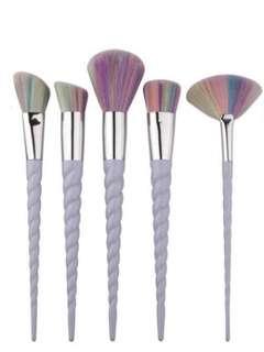 5piece White Unicorn Makeup Brushes