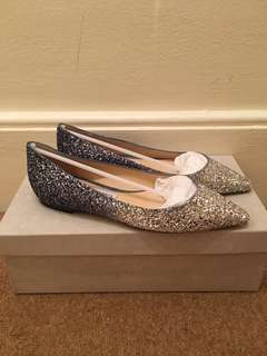 Jimmy Choo Romy Flats Glitter Ombre Silver Blue Dusk