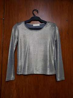 Gold Shimmery Long Sleeved Top
