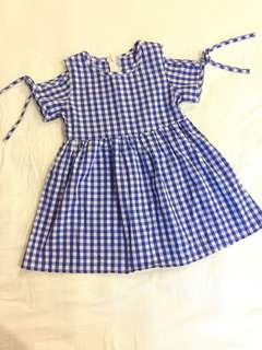 Little Girl Checkered Blue Dress