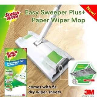 3M Scotch Brite Easy Sweeper PlusPaper Wiper floor Mop with 5 dry wipe