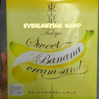 Wakabayashi Tokyo Sweet Banana Cream Sand Crackers Original Kue Bentuk Pisang Product of Japan