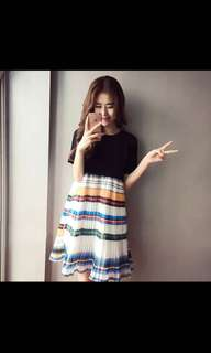 🚚 PO Rainbow Stripes chiffon pleated Dress