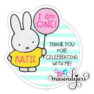 Customised Sticker Label for Birthday Full Month Baby Shower 100 day Wedding Engagement Goodie Door gift pack ( Miffy )