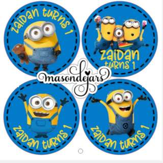Customized Sticker Label for Wedding Engagement Birthday Event Baby Full Month Shower Party Goodie Bag ( minions )