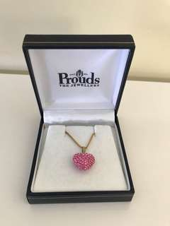 Brand New Prouds Jewellers Pink Heart Necklace
