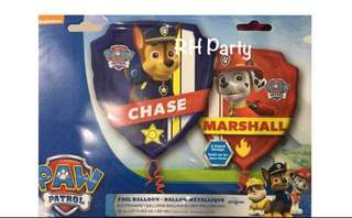(18/6) Include Helium Happy Birthday Paw Patrol Foil Balloon 2 sided Dual Design (Chase & Marshall ) Jumbo Foil