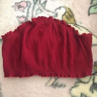 Red bandeau crop top