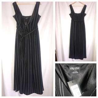 CITY CHIC Pinstripe Maxi Dress, Size S/16