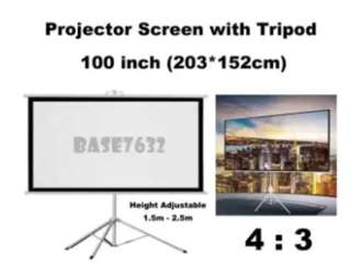 """100"""" Projector Screen and Tripod"""