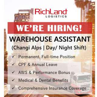 Warehouse Assistant (Changi Alps | Day/ Night Shift)