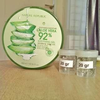Nature Republic 92%Aloe Vera Soothing Gel Original - 20 Gram (Share In Jar)