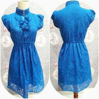 Mini dress blue brukat