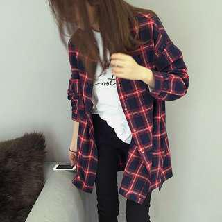 Preorder Brand new Red Blue Plaid Checkered Flannel
