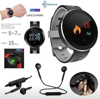 智能手環手鐲防水藍牙心率血液監測儀  送籃芽耳機 Smart Watch for iOS / Android Phones