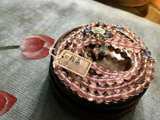 加持 原創能量 天然粉晶 銀吊墜 手鏈 頸鏈約6mm  善結人緣 幸福美滿  特惠結緣