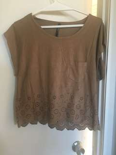 Suede cut out top