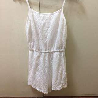 White lace detailed Romper
