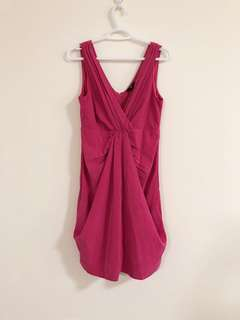 90% new, pink color, V-neck sleeveless, knee-length party dress, back zipper, size 8