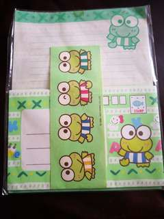 Keroppi 日本絕版1993年信封信紙連貼紙