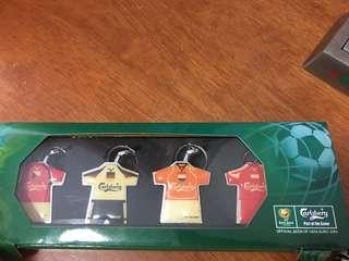 Euro 2004 Carlsberg jersey key chains (set of 4)