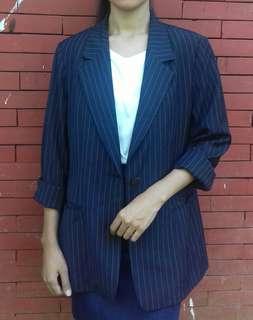 Blazer Wanita Casual biru cocok untuk OOTD