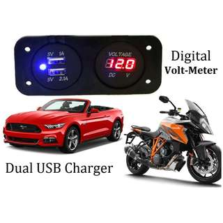 Dual Car 2 USB Port Charger With DC Voltmeter Digital Auto Motorcycle Waterproof