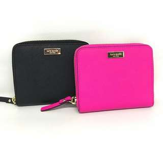 Kate Spade Darci Wallet Peony Pink and Black Saffiano Leather