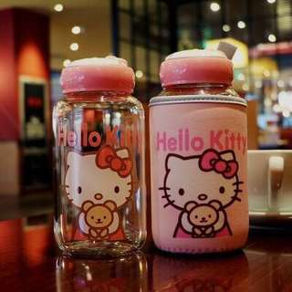 Cute hello kitty and Doraemon glass bottle with cover