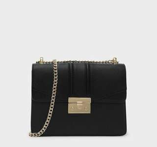 CK SQUARE PUSHLOCK SHOULDER BAG BLACK