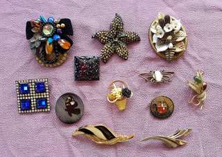 Assorted brooch pins