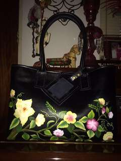 Black Tropicals series - handmade, handcrafted, hand painted  genuine cow leather tote bag