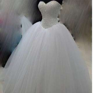 Cinderella Sparkling beaded tulle wedding gown