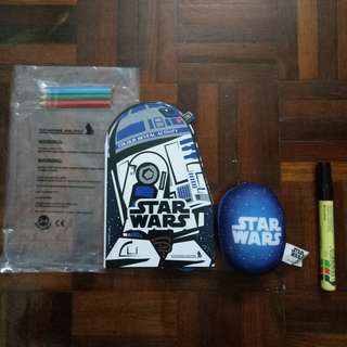 RARE NEW Star Wars Stationery Set Activity Book With R2D2 2 in 1 Reversible Soft Plush Toy Singapore Airlines Air Lines Stationary