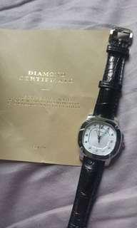 Burberry 女裝限量版白錶面黑色鱷魚皮錶帶+11鑽石
