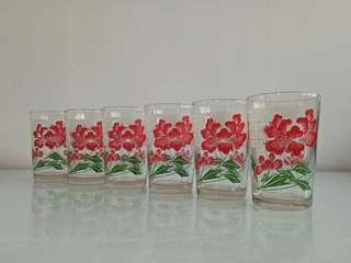 70's Mint Condition Unused set of 6pcs drinks glass height 10.5cm for $18