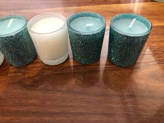 Small White and Blue Sparkly Candles