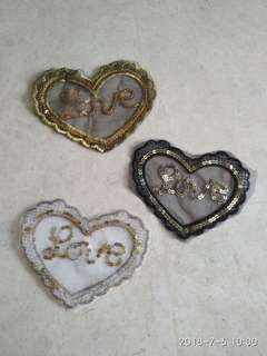 Sew on sequins patch - LOVE heart