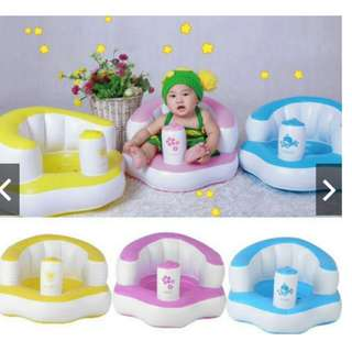 Built In Pump Bath Seat Support Baby Inflatable Chair Sofa Play Kids Childrens