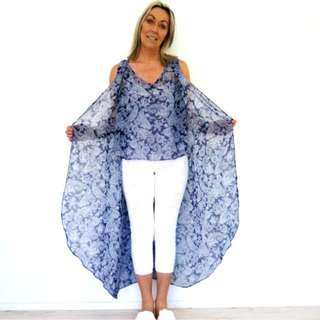 Blue Paisley Waterfall Top